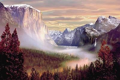 Yosemite National Park Digital Art - Autumns First Snowfall 2 by Ron Chambers