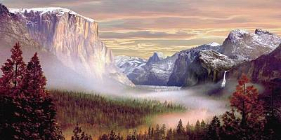 El Capiton Painting - Autumns First Snowfall 2 by Ron Chambers
