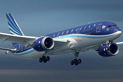 Mixed Media - Azerbaijan Airlines Boeing 787 Dreamliner by Smart Aviation