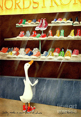 Painting - baby needs a new pair of shoes...PRINT by Will Bullas