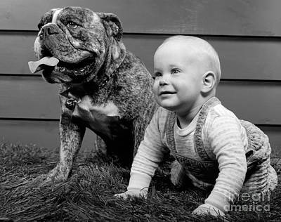 Baby With Bulldog, C.1950-60s Art Print by H. Armstrong Roberts/ClassicStock