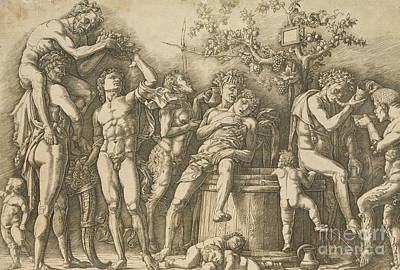 Winery Drawing - Bacchanal With A Wine Vat by Andrea Mantegna