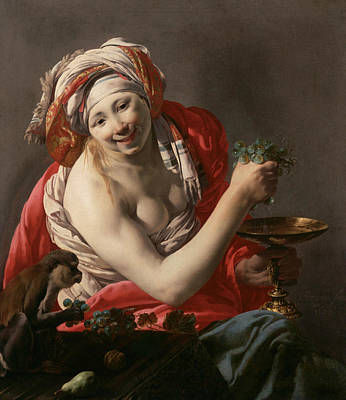 Painting - Bacchante With An Ape by Hendrick ter Brugghen