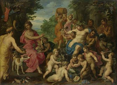 Painting - Bacchus And Diana by Hendrick van Balen