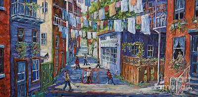 Ice Hockey Painting - Back Lanes Hockey Champs By Prankearts by Richard T Pranke