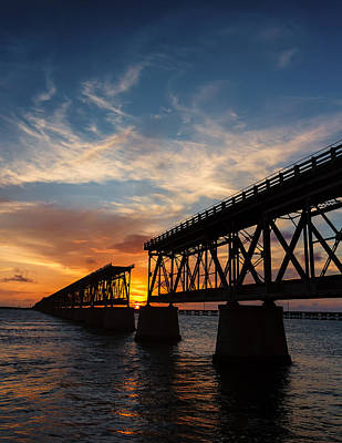 Florida Keys Train Railroad Photograph - Bahia Bridge Sunset by Gary Oliver