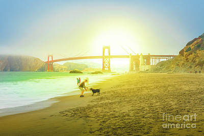 Photograph - Baker Beach Dog Playing by Benny Marty