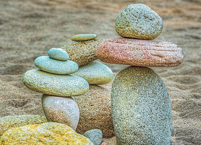 Stacked Rocks On Sandy Beach Art Print by Dee Browning