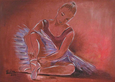 Tutus Mixed Media - Ballerina Sitting by Vered Thalmeier