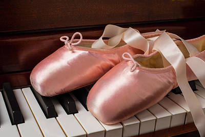Piano Photograph - Ballet Shoes On Piano Keys by Garry Gay