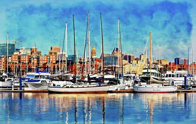 Baltimore Cityscape By Canton  Print by Chet Dembeck