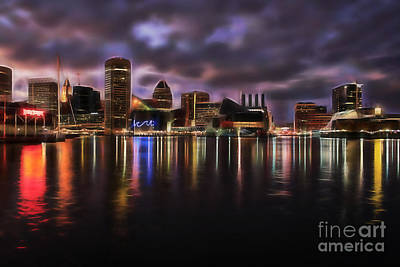 Mixed Media - Baltimore Maryland Skyline by Marvin Blaine
