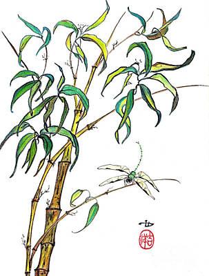 Stalk Mixed Media - Bamboo And Dragonfly by Irina Davis