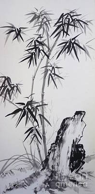 Bamboo With Stone Print by Birgit Moldenhauer