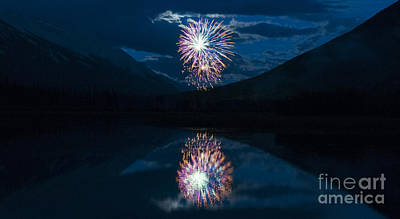 Photograph - Banff Fireworks by Vivian Christopher