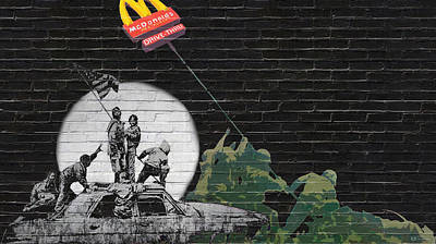 Pop Art Photograph - Banksy - The Tribute - New World Order by Serge Averbukh