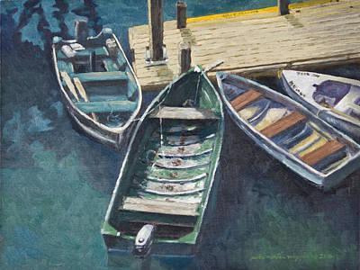 Peter Muzyka Wall Art - Painting - Bar Harbor Boats by Peter Muzyka
