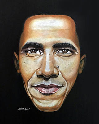 Politicians Drawings - Barack Obama by Kevin Johnson Art