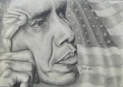 Drawing - Barack Obama by Stephen Sookoo