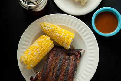 Barbecue Pork Spare Ribs With Corn And Potato Salad Art Print