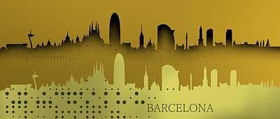 Barcelona Digital Art - Barcelona Skyline by Alberto RuiZ