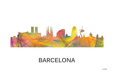 Barcelona Digital Art - Barcelona Spain Skyline by Marlene Watson