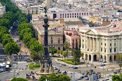 Puerto Photograph - Barcelona With Tree-lined Las Ramblas by Annie Griffiths