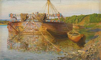 Net Painting - Barge On The River Oka by Vasily Dmitrievich Polenov