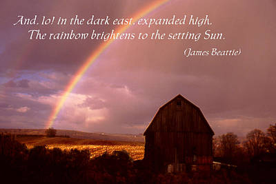 Barn And Rainbow Poster Art Print by Roger Soule