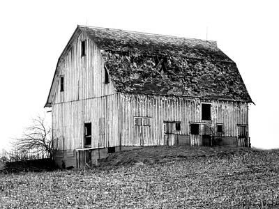 Barn On The Hill Bw Art Print by Julie Hamilton