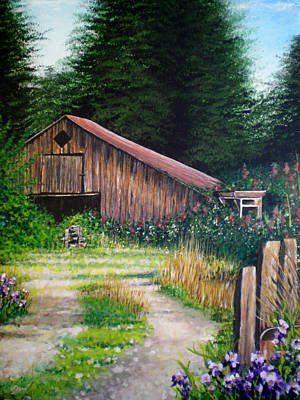 Barn With Purple Iris Art Print by Bill Brown