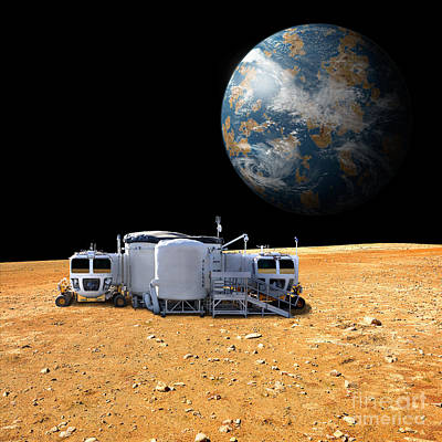 Earth Based Photograph - Barren Moon Outpost, Planet by Marc Ward