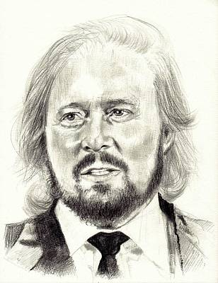 Graphite Drawing - Barry Gibb Portrait by Suzann's Art