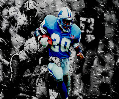 Curtis Martin Mixed Media - Barry Sanders Breaking Out by Brian Reaves
