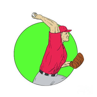 Baseball Pitcher Throwing Ball Circle Drawing Art Print