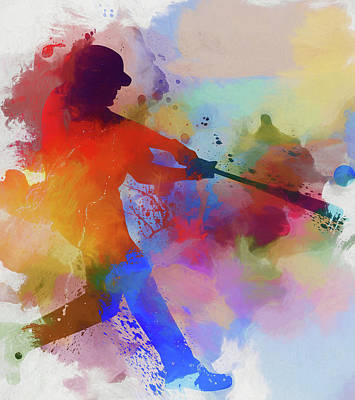 Best Sellers - Sports Royalty-Free and Rights-Managed Images - Baseball Player Paint Splatter by Dan Sproul