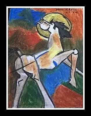 Abstract Painting - based on Hussein Art by Miss Ratul Banerjee