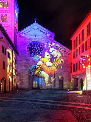 Photograph - Basilica Of Saint Fedele, Como Monuments Illuminated In Christma by Alfio Finocchiaro