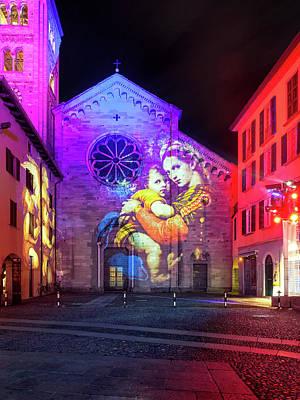 Photograph - Basilica Of Saint Fedele, Como Monuments Illuminated In Christma by Alfio Finocchiaro