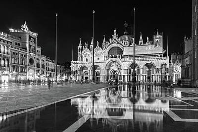 St. Marks Basilica Photograph - Basilica San Marco Reflections At Night - Venice, Italy by Barry O Carroll