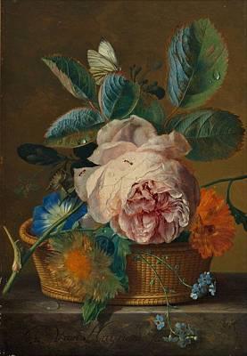 Modern Man Music - Basket with flowers by Jan van Huysum