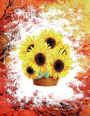 Watercolor Painting - Basket With Sunflowers by Irina Sztukowski