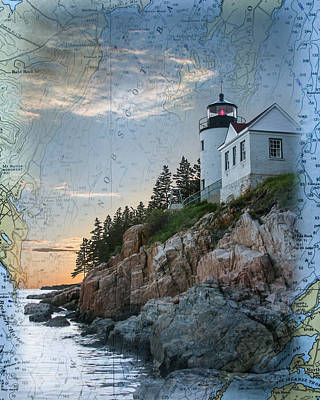 Photograph - Bass Harbor Lighthouse On Maine Nautical Chart by Jeff Folger