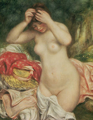 Combing Painting - Bather Arranging Her Hair by Pierre Auguste Renoir