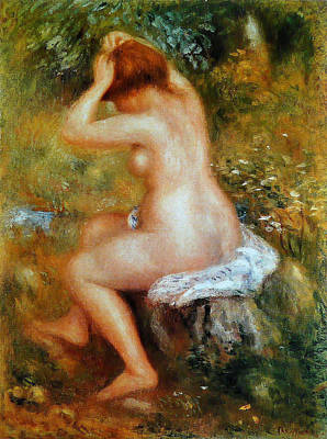 Outdoor Nude Painting - Bather Doing Her Hair by Pierre-Auguste Renoir