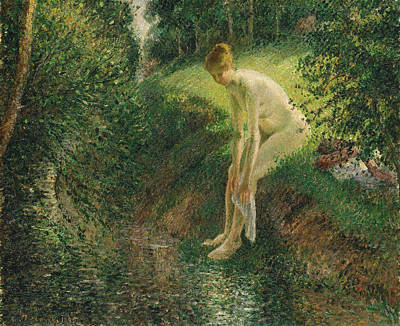 Bathing Painting - Bather In The Woods by Camille Pissarro