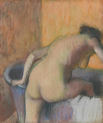 Drawing - Bather Stepping Into A Tub by Edgar Degas