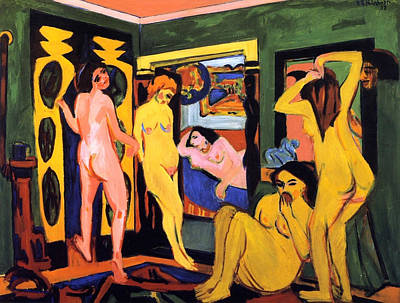 Bathing Painting - Bathers In The Room by Ernst Ludwig Kirchner