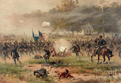 Infantry Painting - Battle Of Antietam by Thure de Thulstrup