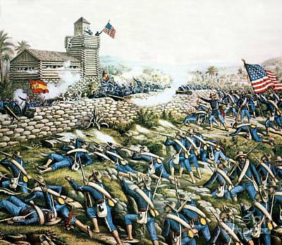 Infantryman Photograph - Battle Of San Juan Hill, 1898 by Science Source